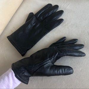 Women's Genuine Leather Black Gloves